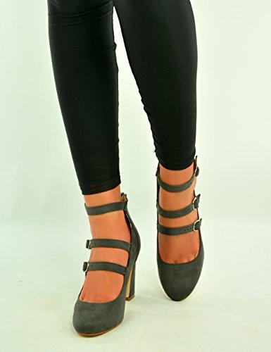 Mujer Con De Cerrada Zapatos Hebilla Punta Y Alto Cucu Gris Fashion Tacón Correa Triple 5wgw7Iqd