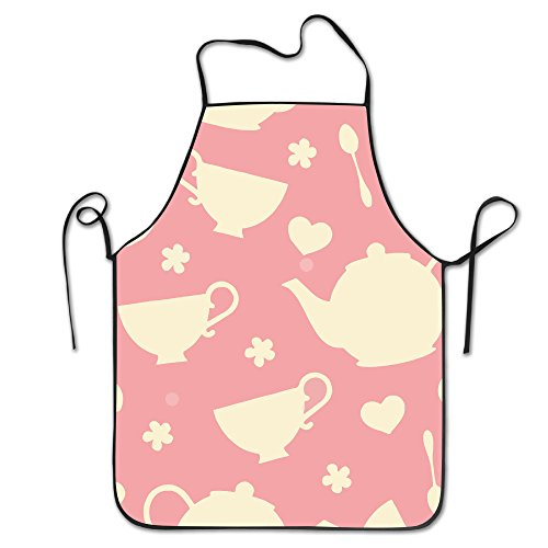 TDynasty Funny Kitchen Apron Fully Adjustable Tea Cups And Teapot Waterproof Durable Comfortable Perfect For Cooking, Baking, BBQ