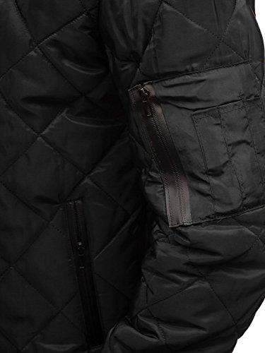Transitional Black 4D4 Jacket Bomber Men's BOLF ak76 Basic Sport Mix Zip qtzFn8