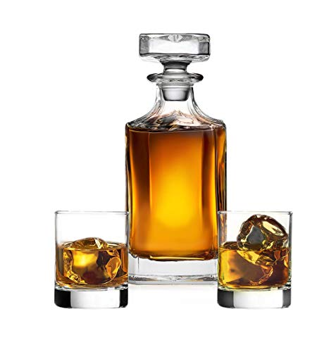 James Scott Whiskey Decanter set for Liquor Scotch Bourbon or Wine, This LEAD FREE Bar Set Includes a 750 ml Decanter with 2 DOF Whisky Glasses-Perfect Men's Gift & Boyfriend Gift