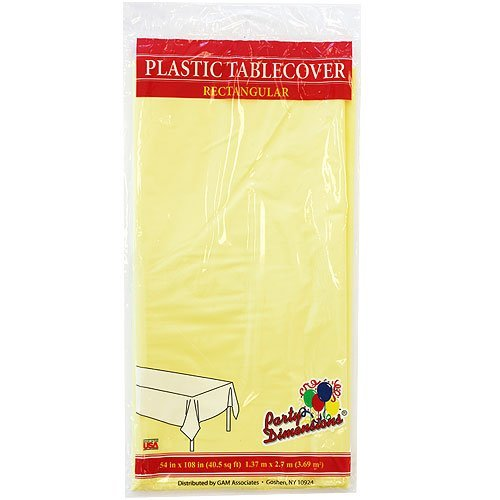 Plastic Party Tablecloths - Disposable, Rectangular Tablecovers - 4 Pack - Yellow - By Party Dimensions (Plastic Tablecloths Cheap)