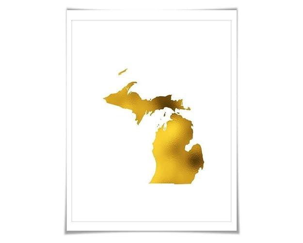 Gold In Michigan Map.Amazon Com Michigan State Map Gold Foil Art Print 7 Foil Colours 3