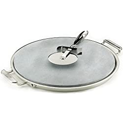 All-Clad 00280 Stainless Steel Serving Tray with 13-inch Pizza-Baker Stone Insert and Pizza Cutter, Silver by All-Clad