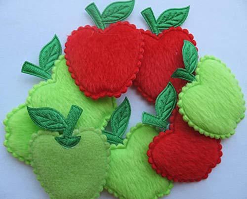 FidgetKute Red/Green Padded Felt Apple Appliques x 50 - Nice Craft Show One Size