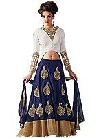 JDS Fashion Womens Navy Blue Velvet With White Banglori Silk Indo Western Lehenga Choli With Dupatta (For JDS 7817 RBLB Ghagra Choli)