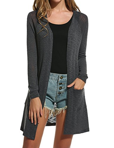Box Knit Cotton Sweater - ELESOL Women's Open Front Casual Long Sleeve Knitted Cardigan Sweater Grey XL