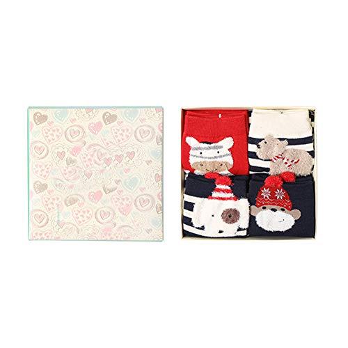Kanggest. Set de calcetín de Navidad de 4 Pares, para Mujer y niños Calcetín de calcetín de diseño de calcetín de algodón Premium para Invierno, ...