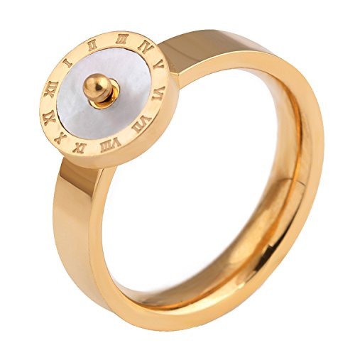 (LILILEO Jewelry Stainless Steel 18K Rose Gold Simple Dome Roman Numerals Mosaic White Shell Ring For Women's Rings)
