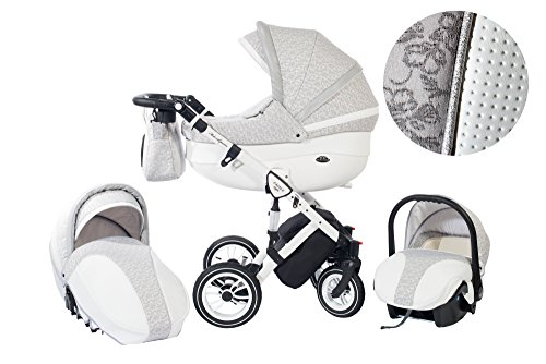 Luxury Stroller Style-11 gray - white leather , 3 in1, Travel System