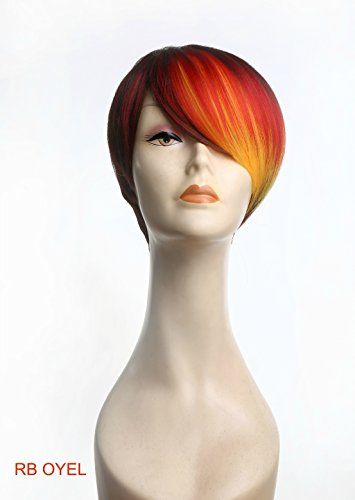 Natural-Look Wig New Fashion Bob Pixie Tousle Brown Red Yellow Color Block Ombre for Regular Wear or Halloween Party Cosplay Heat Friendly Fire Resistant Kanekalon (BONUS: 2 Wig Caps Provided) (Orange City Halloween Block Party)