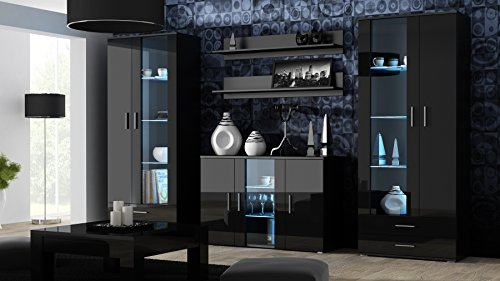 Meble Furniture & Rugs Soho 10 Modern Wall Unit with 16 Colors LED Lights (Black) ()