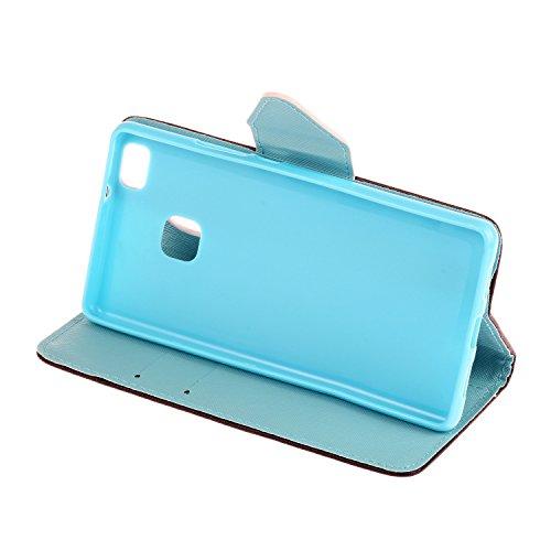 Caja de Teléfono para Huawei P9 Funda LuckyW Casa Flip Folio Funda Bookstyle Funda Flexible Ligera Duradera con Función de Soporte Ranuras de Tarjeta Soporte de Identificación Cierre Magnético PU Fund Mandala