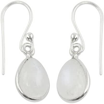 NOVICA Moonstone - Rainbow .925 Sterling Silver Dangle Earrings 'Hypnotic Minimalism'