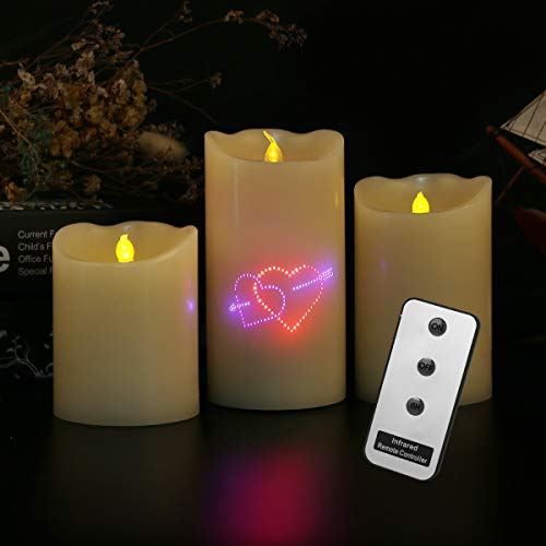 Heart Pattern Fiber Optic Lights Ivory Real Wax Pillar LED Candle Electric Unscented Candles Battery Operated with Remote Control for Celebration/Birthday/Christmas ()