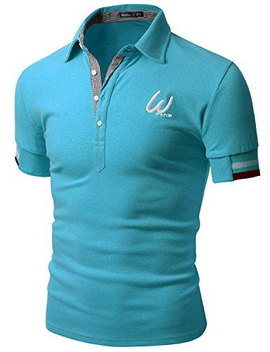 Doublju Men Contemporary Skinny Fit Short Sleeve Polo T Shirt Aqua  Us Xxx Large   Asia Xxxx Large