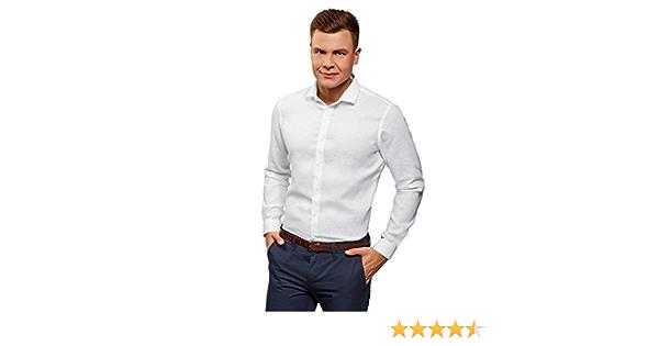 oodji Ultra Hombre Camisa Entallada de Lino