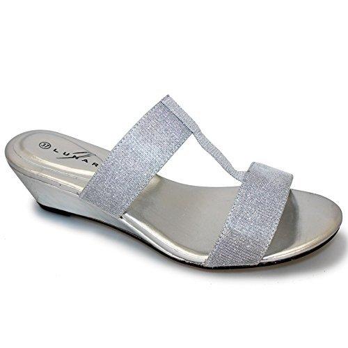 SAPPHIRE purpurina y para mujer ovillo de correa de fijación de la Fashion cojín con forma de cuña cómodo Mule de sándalo de bajo Plata - plata