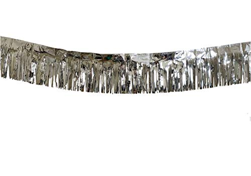 3 Pack | Silver Metallic Foil Tinsel Fringe Garland | Long Banner | 9 feet by 12 inches | for Parties, Wedding Decor, Birthdays, Holiday Decorations and Much More ()
