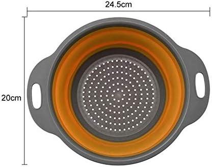 WeiCYN Inklapbare Silicone Colander for Keuken GroentenFruit wasmand Zeef Foldable Basket Drainer Keuken Tool ColorOrange Small
