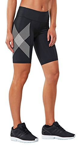 Black Mi striped cuisse White De Femme Compression Athlétique 2xu Short wqCxaOBx
