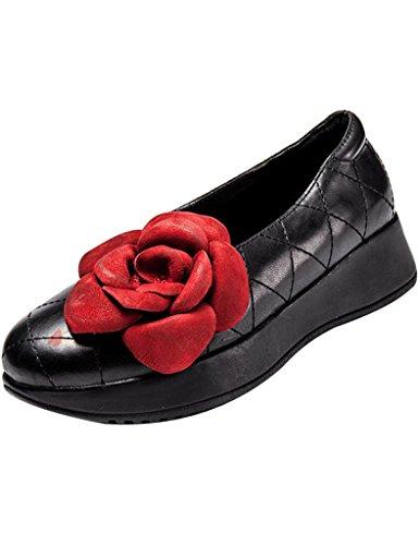 Youlee Women's Summer Spring Flower Leather Platform Shoes yjSM6