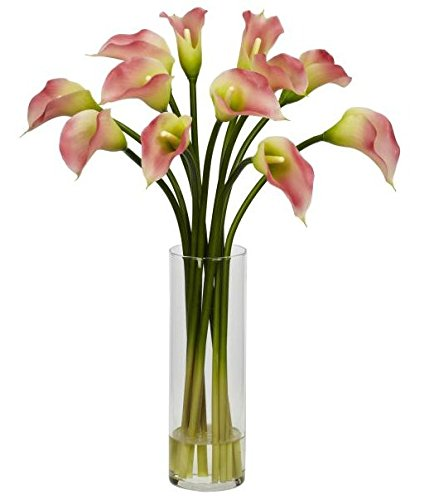 SKB Family Mini Calla Lily Silk Flower Arrangement colorful classic origin leaves african by SKB family