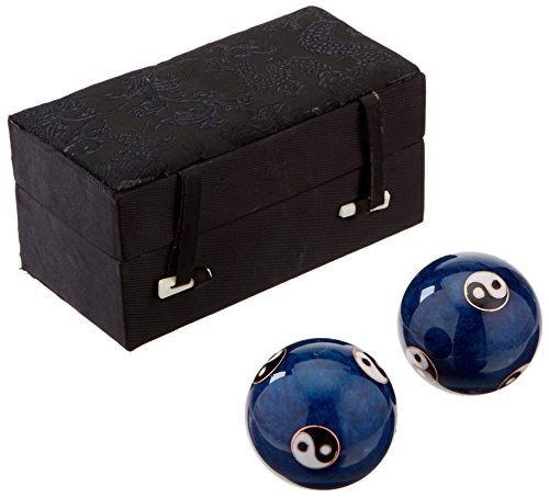 "StealStreet 21282 Cloisonne Yin & Yang Health Balls in Black Box, 1.5"", Blue"