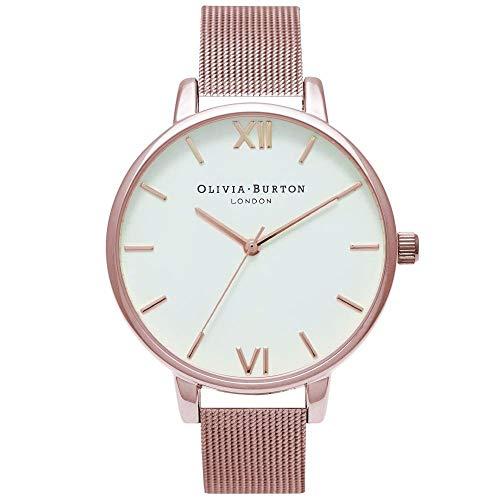 Olivia Burton White Dial Mesh Watch in Rose Gold -