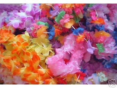 100 assorted Flower leis -wholesale LUAU party -