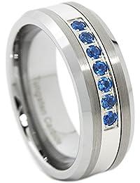 Men's Thin Blue Line Blue 7 Cz Stone Ring Tungsten Carbide Wedding Band