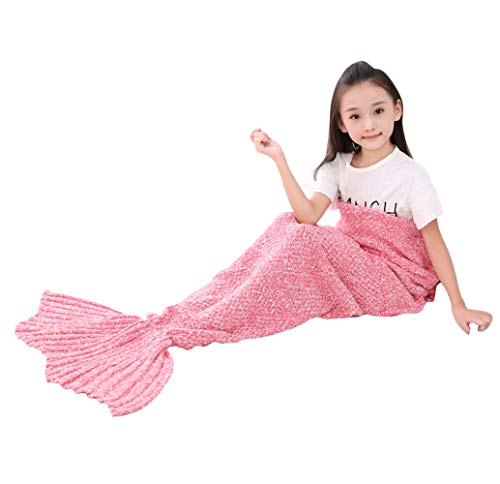 SENYANG Mermaid Tail Blanket, Mermaid Blanket for Kids Hand Crochet Snuggle Kids Mermaid Blanket for Girls, Sweet Girls Gifts for Girls Toys (Kid Thick Pink)