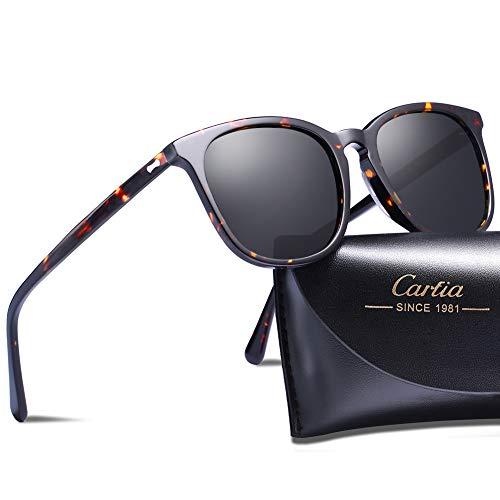Carfia Oversized Polarized Sunglasses for Women Stylish Outdoor Eyewear Sun's Rays Protection, C4- Tortoise Frame Grey Lens, one size ()