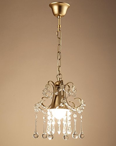 Garwarm Mini Style Clear Crystal Chandeliers, Ceiling Lights,Crystal Pendant Light,Ceiling Light Fixtures for Living Room Bedroom Restaurant Porch Chandelier,1-Light,Champagne by Garwarm (Image #3)