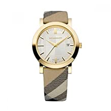 Burberry Heritage LUXURY Unisex Womens Mens Gold Watch Nova Check Fabric Leather Strap Date Dial BU1398