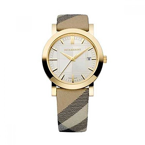 - Burberry Heritage LUXURY Unisex Womens Mens Gold Watch Nova Check Fabric Leather Strap Date Dial BU1398
