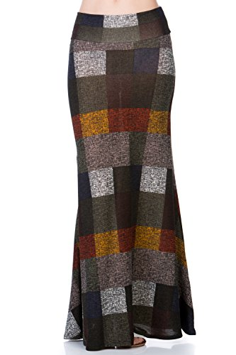 Women's Foldover High Waisted Floor Length Maxi Skirt (1X-Large, S222CLBR Olive) (Womens Skirt Polyester)