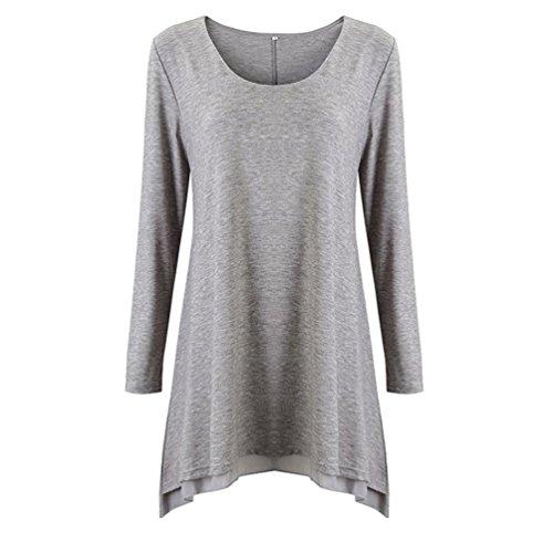 Mujer en escote SHOBDW escote túnica larga manga suelto blusa capas Gris redondo de Vestido ajuste de 4wqRqxdS