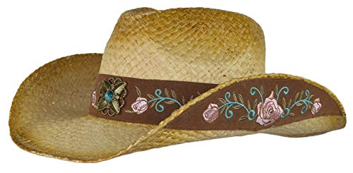 Straw Floral Cowboy Hat, Shapeable Flower Embroidered Cowgirl Hat w/Turquoise Concho