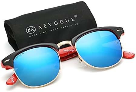 AEVOGUE Polarized Sunglasses Semi-Rimless Frame Brand Designer Classic AE0369