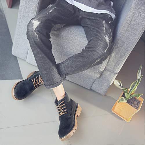 Martin Europeo Pizzo Uomo Nero Suola Scarpe Inverno Ammortizzazione Stivali Confortevole Toe Stile Round all'abrasione Autunno Resistente 5wEWOWqxfA