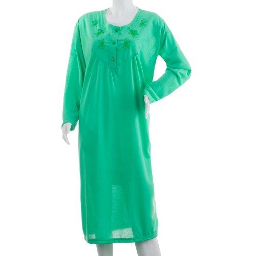 grandi maniche da monocromatica notte Camicia dimensioni con Verde a Romesa lunghe ricamo femminile vpwaqY