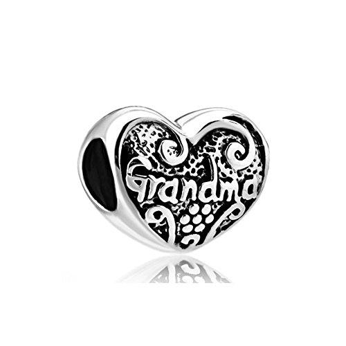 CharmSStory Sterling Silver Grandma Heart Love Family Charm Beads For Bracelets