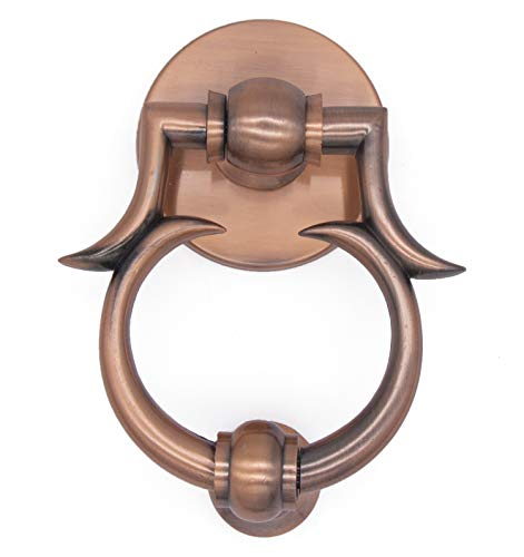 """5-1/2""""Deluxe Antique Door Knocker Solid Brass Antique Copper Finish,Classic Design for Various Door Thickness"""