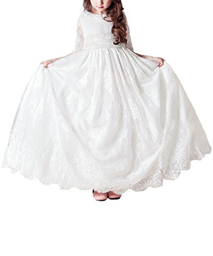 Long Lace Flower Girls Prom Dresses White Baptism First Communion Gowns US (Discount First Communion Dresses)