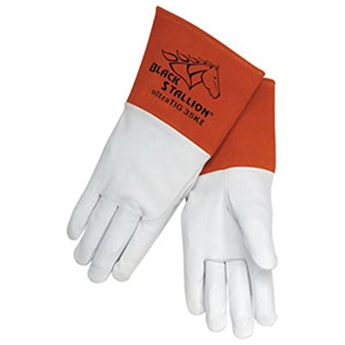 Black Stallion 35KE Long Cuff Grain Kidskin TIG Welding Gloves, Medium