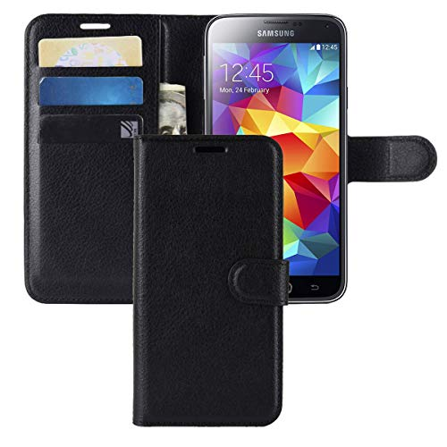 Galaxy S5 Case,CH-IC Protective Shockproof PU Leather Wallet Flip Folio Cover with Kickstand Card Holders Magnetic Closure for Samsung Galaxy S5 (Black)