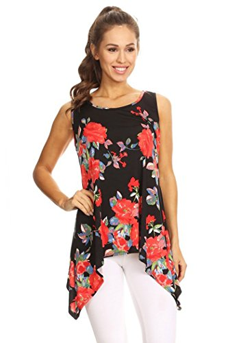 Fashion Stream Womens Regular Size Foral Printed Double Layer Trapeze Tank Top Made In USA (S, Black/Red (Baby Doll Layer Tank Top)