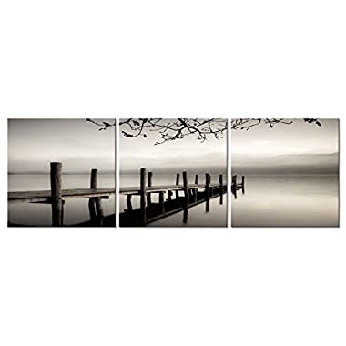 Pyradecor Peace 3 panels Black and White Landscape Giclee Canvas Prints on Canvas Wall Art Modern Stretched and Framed Pictures Paintings Artwork for Living Room Bedroom Home Décor AH3018