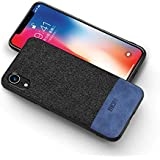 MOFI iphone XR Case, Blue Leather Black Fabric, Flexible Frame