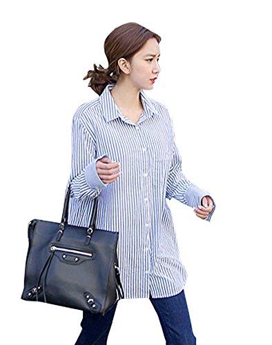 盗難採用よく話される(ライロンジャパン)LYLON JAPAN 大きいサイズレディース韓国ファッション 高品質 素材厳選 ★コットン100% ストライプシャツ ブラウス★ネイビー3